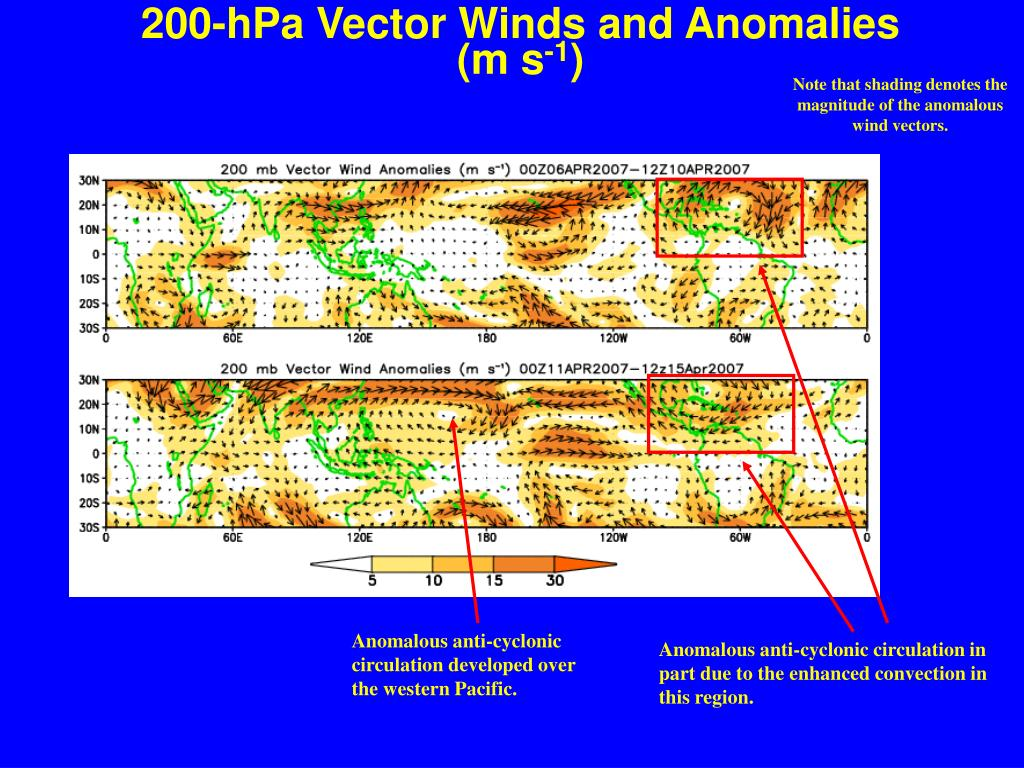 200-hPa Vector Winds and Anomalies  (m s