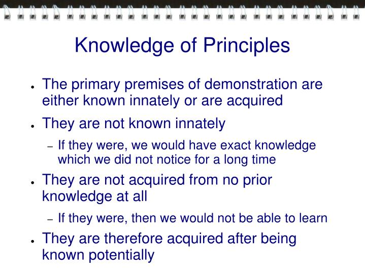 Knowledge of Principles