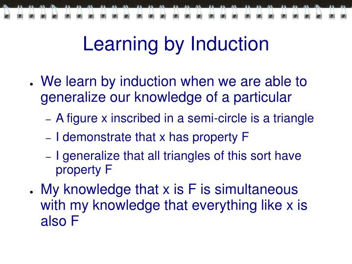 Learning by Induction