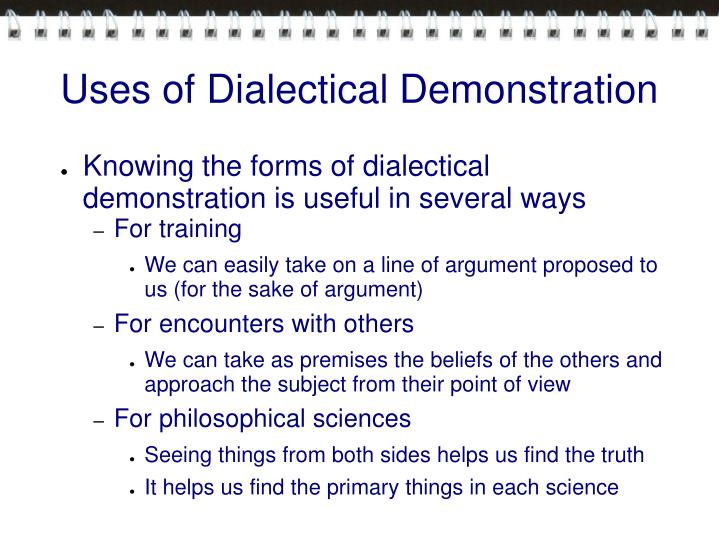 Uses of Dialectical Demonstration