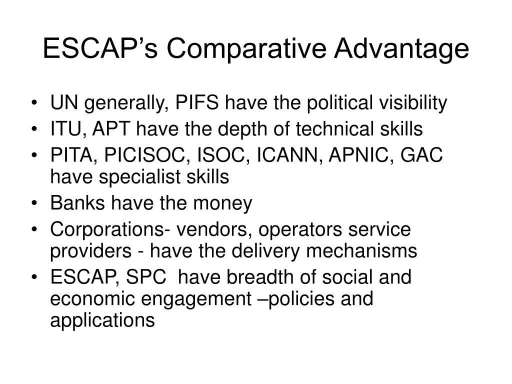 ESCAP's Comparative Advantage