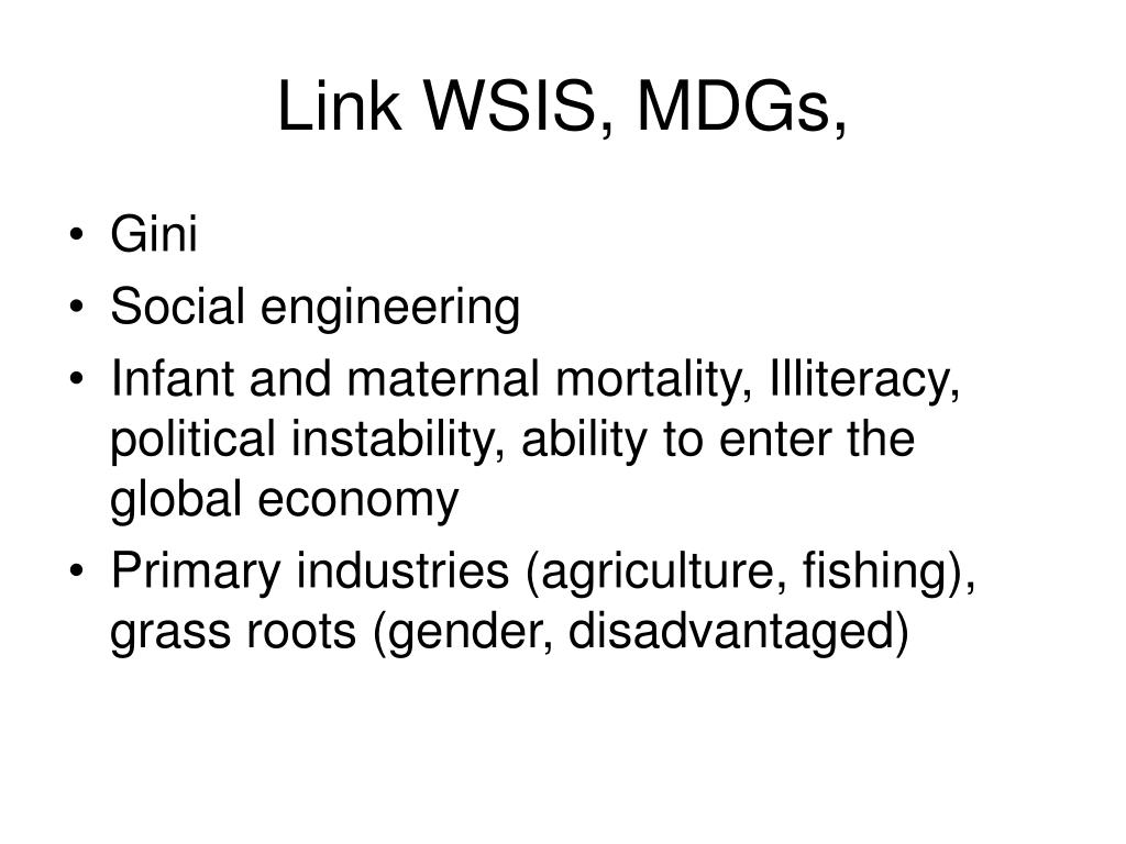 Link WSIS, MDGs,