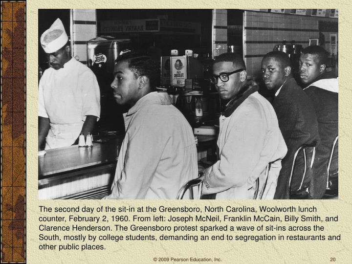 The second day of the sit-in at the Greensboro, North Carolina, Woolworth lunch counter, February 2, 1960. From left: Joseph McNeil, Franklin McCain, Billy Smith, and Clarence Henderson. The Greensboro protest sparked a wave of sit-ins across the South, mostly by college students, demanding an end to segregation in restaurants and other public places.