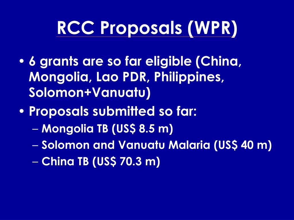 RCC Proposals (WPR)