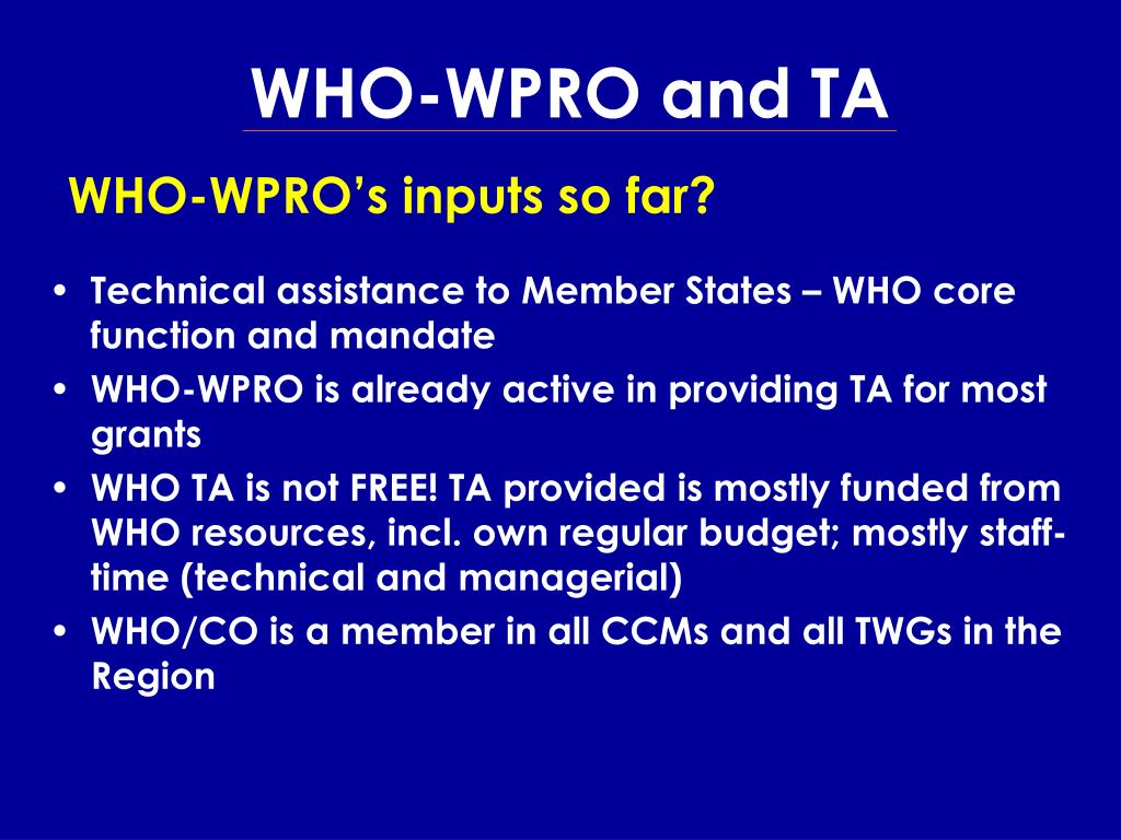 WHO-WPRO and TA
