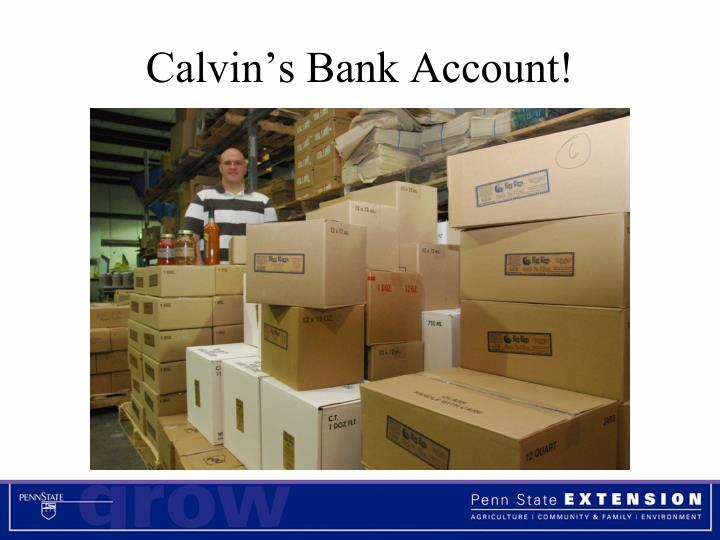 Calvin's Bank Account!