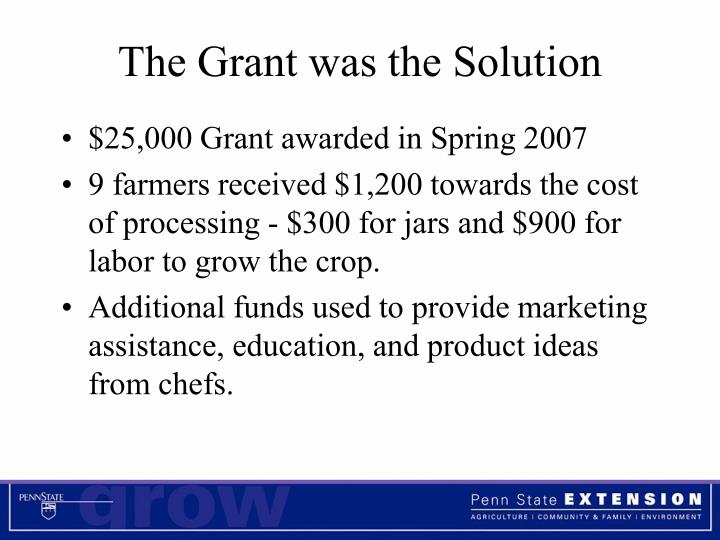 The Grant was the Solution