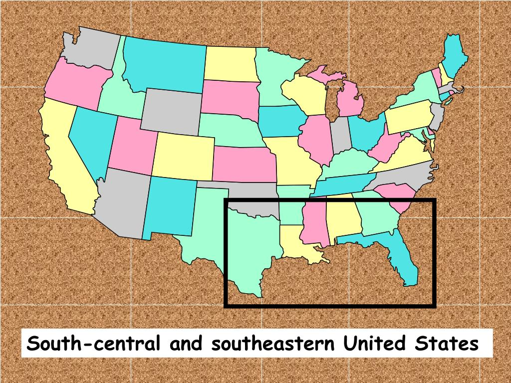 South-central and southeastern United States