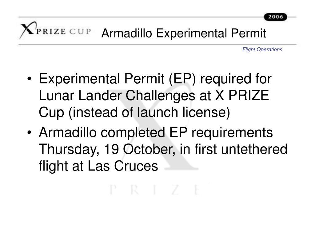 Armadillo Experimental Permit