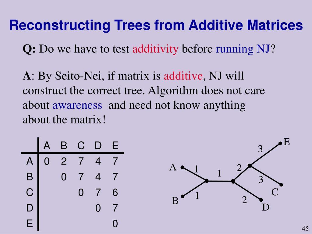 Reconstructing Trees from Additive Matrices