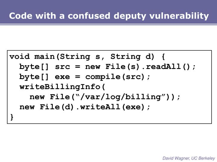 Code with a confused deputy vulnerability