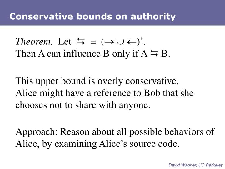 Conservative bounds on authority
