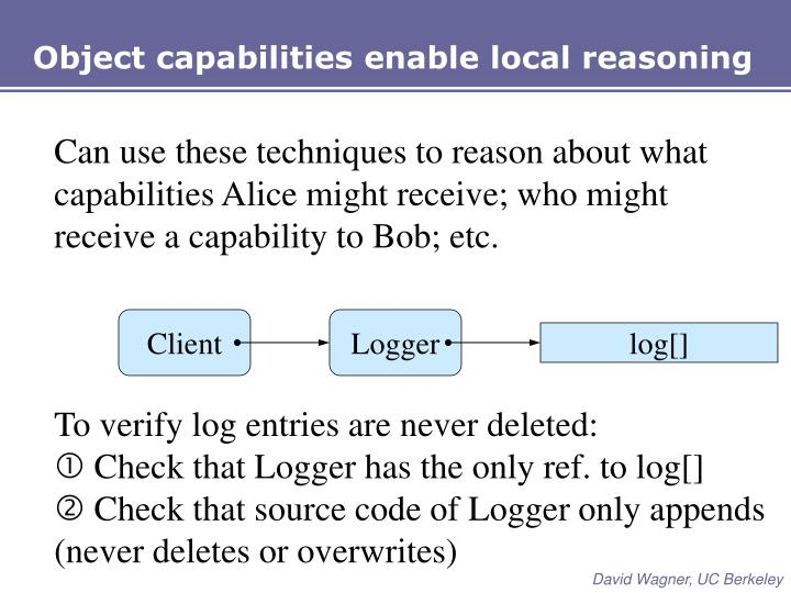 Object capabilities enable local reasoning
