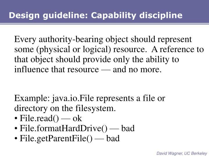 Design guideline: Capability discipline