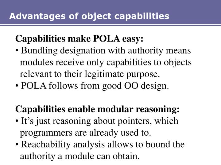 Advantages of object capabilities