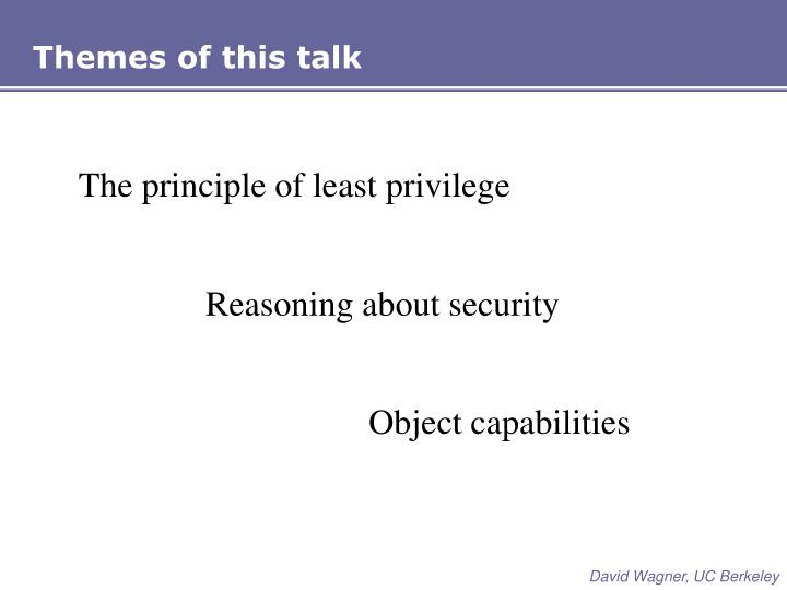 Themes of this talk