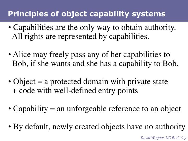 Principles of object capability systems