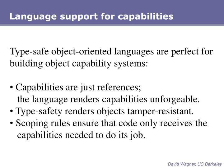 Language support for capabilities