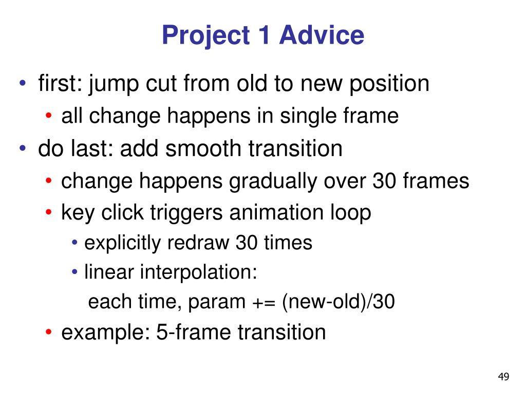 Project 1 Advice