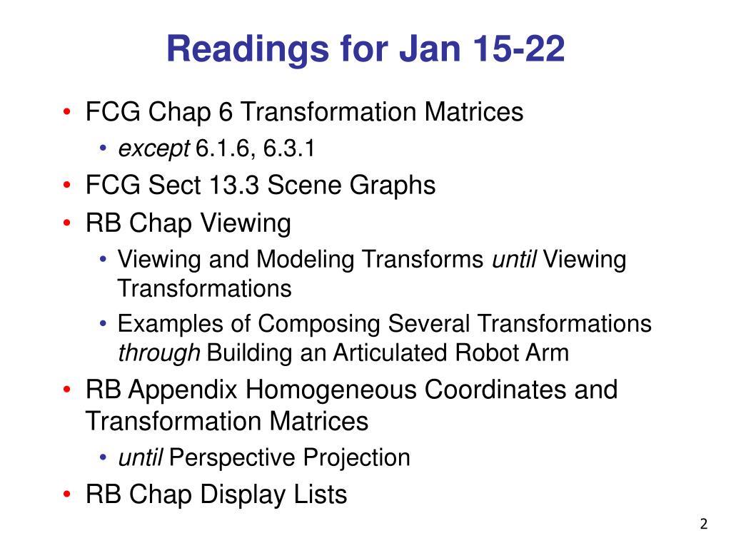 Readings for Jan 15-22
