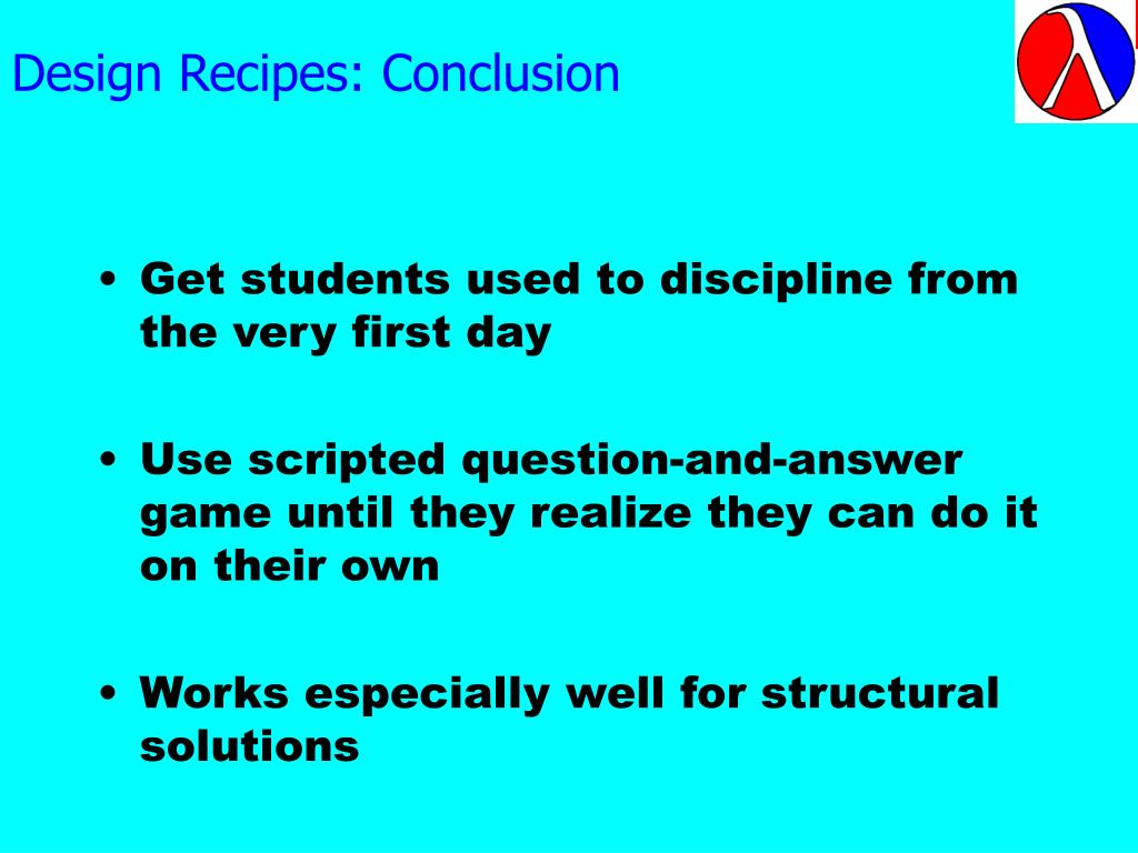 Design Recipes: Conclusion
