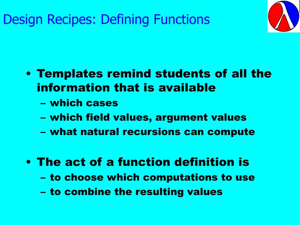 Design Recipes: Defining Functions