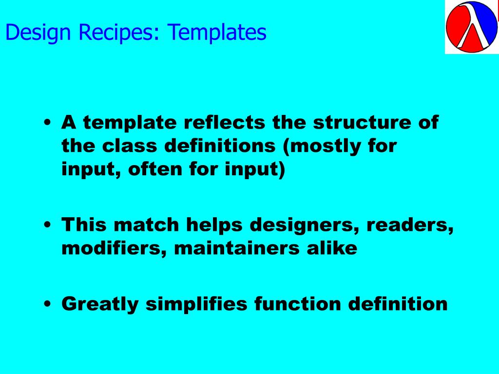 Design Recipes: Templates