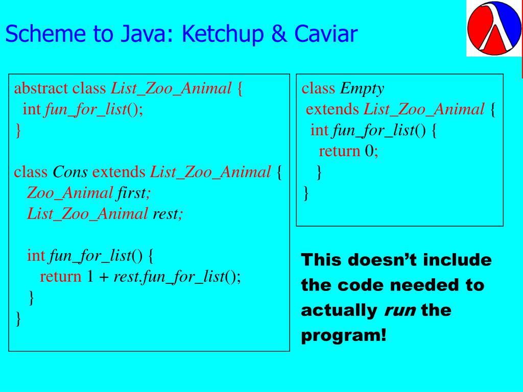 Scheme to Java: Ketchup & Caviar