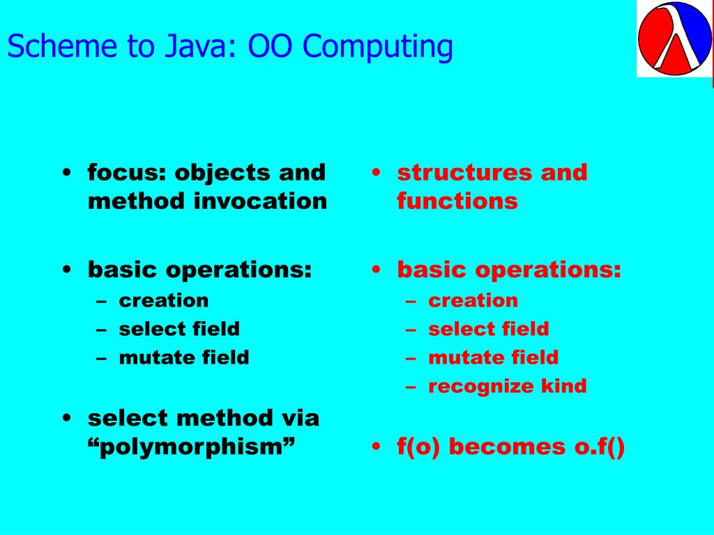 Scheme to Java: OO Computing