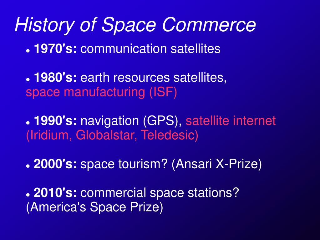 History of Space Commerce
