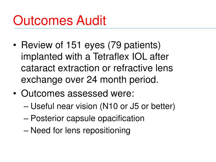 Outcomes Audit