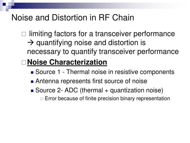 Noise and Distortion in RF Chain