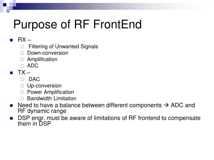 Purpose of RF FrontEnd
