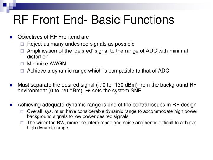 RF Front End- Basic Functions