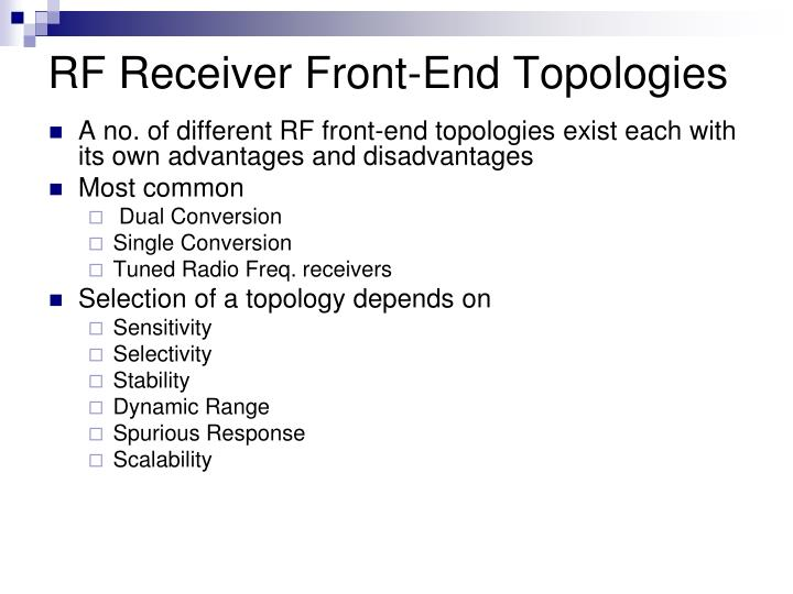 RF Receiver Front-End Topologies