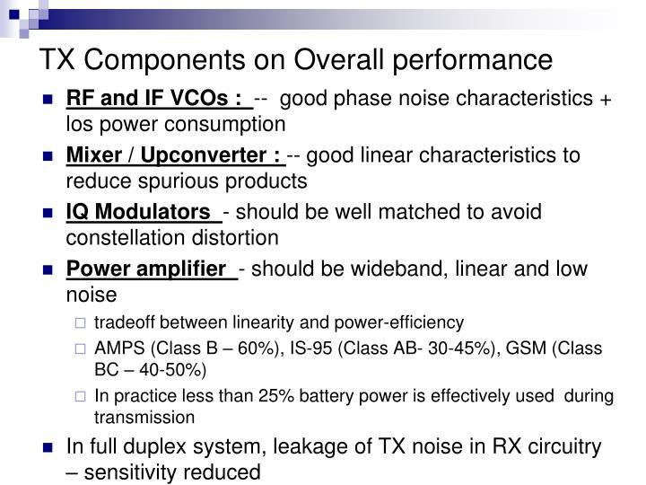 TX Components on Overall performance