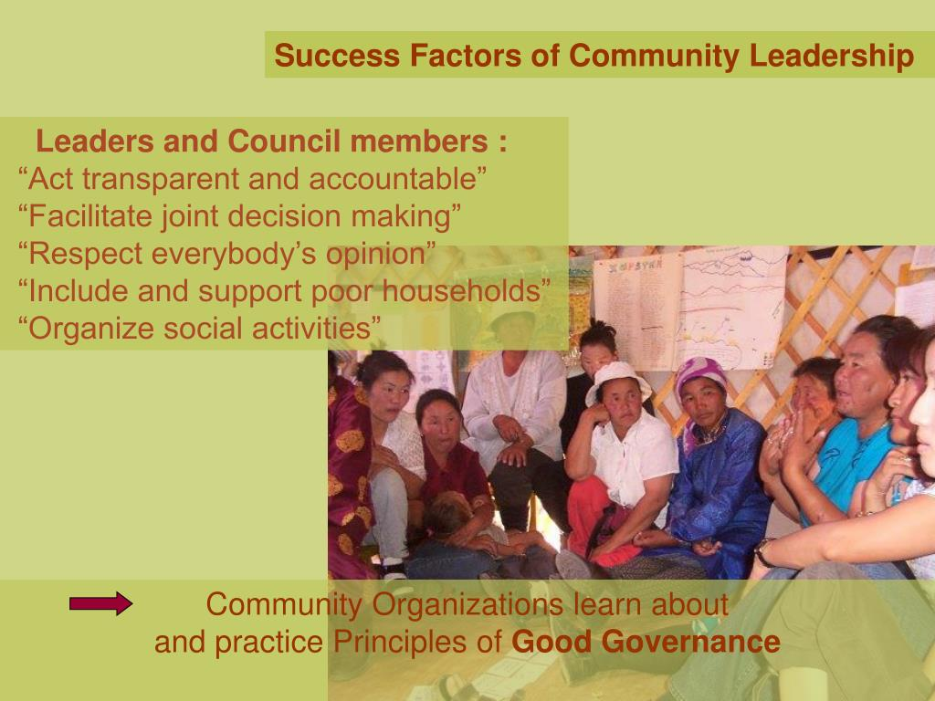 Success Factors of Community Leadership