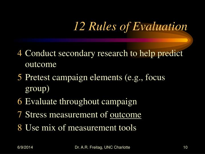 12 Rules of Evaluation