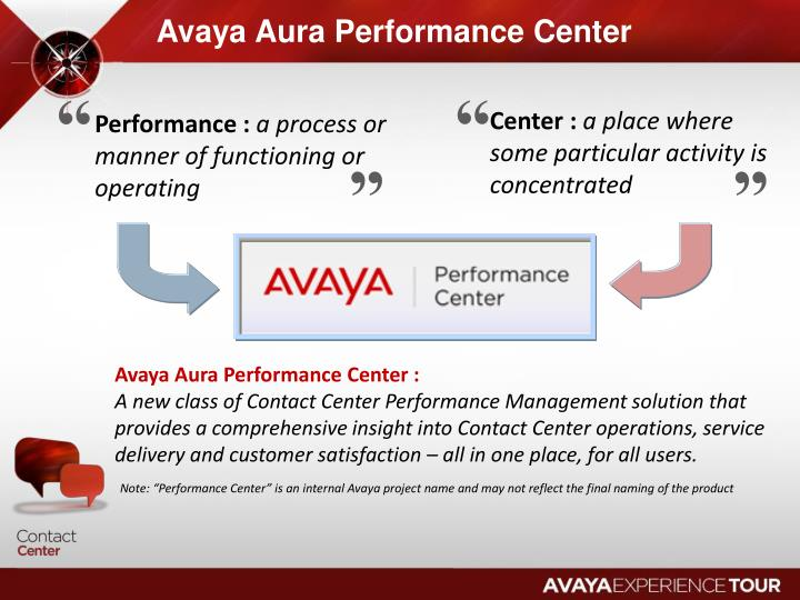 Avaya Aura Performance Center