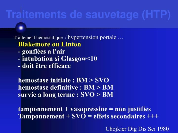 Traitements de sauvetage (HTP)