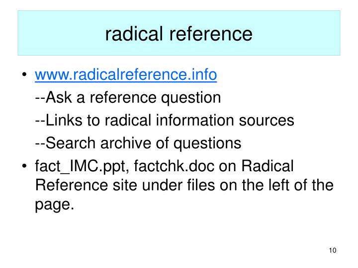 radical reference
