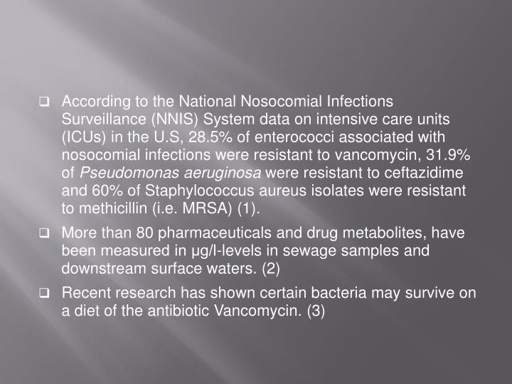 According to the National Nosocomial Infections Surveillance (NNIS) System data on intensive care units (ICUs) in the U.S, 28.5% of enterococci associated with nosocomial infections were resistant to
