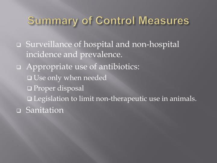 Summary of Control Measures