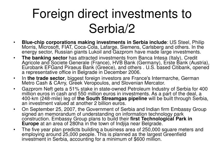 Foreign direct investments to Serbia/2