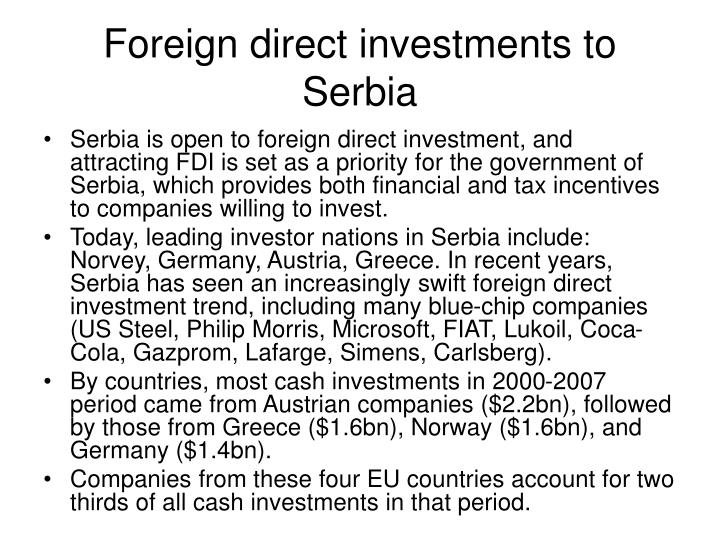 Foreign direct investments to Serbia