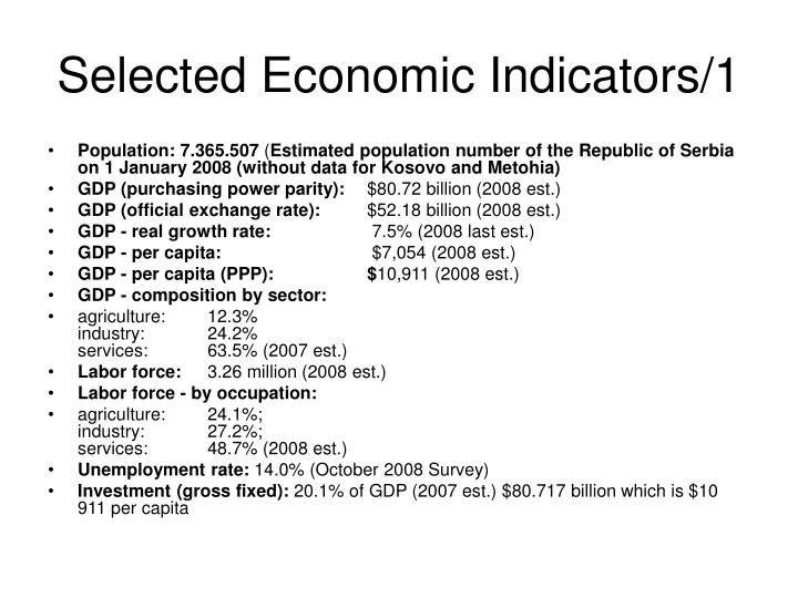 Selected economic indicators 1
