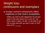 weight loss continuums and exemplars1