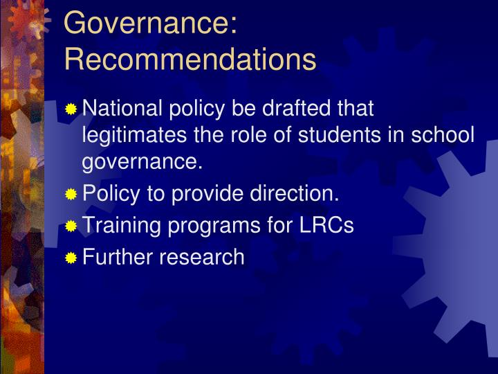 Governance: Recommendations