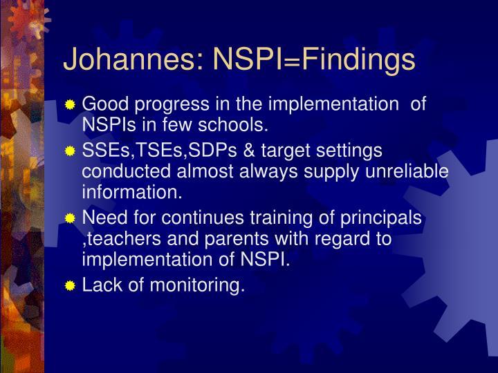 Johannes: NSPI=Findings