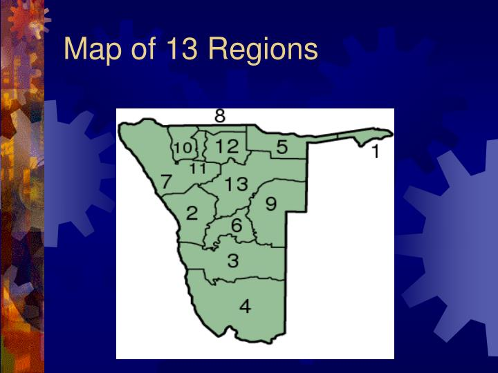 Map of 13 Regions